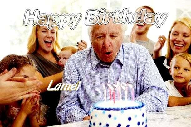 Happy Birthday Lamel Cake Image