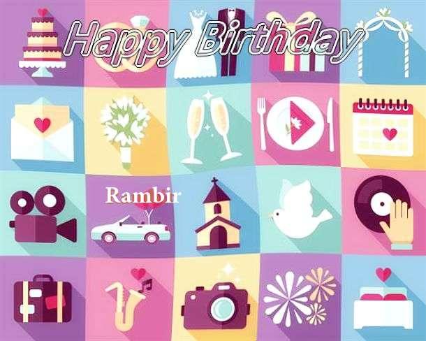 Happy Birthday Rambir Cake Image