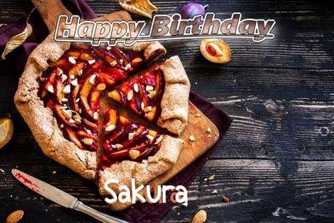 Happy Birthday Sakura Cake Image